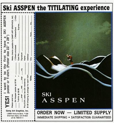 1980s USA Ski Asspen Magazine Advert